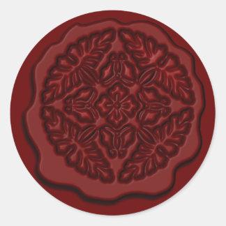 Falso sello impreso de la cera, rojo pegatina redonda