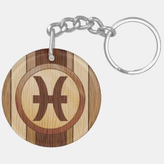 Falso símbolo de madera de la astrología de Piscis Llaveros
