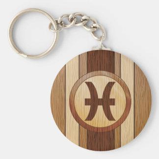 Falso símbolo de madera de la astrología de Piscis Llaveros Personalizados