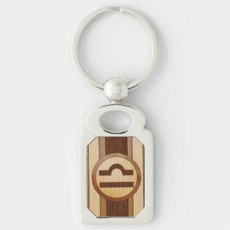 Falso símbolo de madera del libra de la astrología llaveros