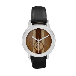 Falso símbolo de madera del zodiaco de Leo Reloj
