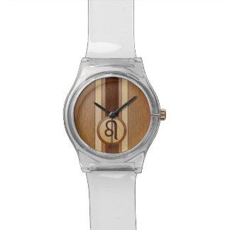 Falso símbolo de madera del zodiaco de Leo Relojes De Pulsera