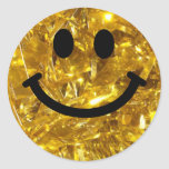 Falso smiley de Bling del oro brillante Pegatina Redonda