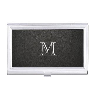 Falso tenedor de cuero negro de la tarjeta de visi caja de tarjetas de visita