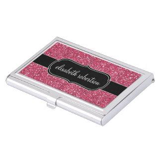 FALSO tenedor rosado elegante de la tarjeta de Caja De Tarjetas De Presentación