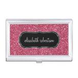 FALSO tenedor rosado elegante de la tarjeta de vis Caja De Tarjetas De Visita