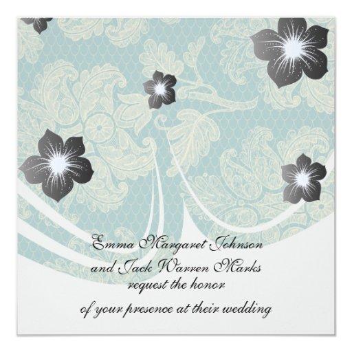 falso trullo del cordón y modelo floral poner invitación 13,3 cm x 13,3cm