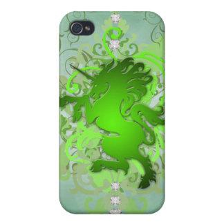 Falso unicornio urbano verde 4g de la fantasía iPhone 4 fundas