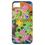 Falso vintage romántico colorido floral y remolino iPhone 5 fundas