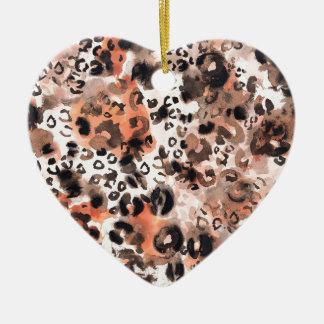 Falso Watercolour del leopardo Adorno Navideño De Cerámica En Forma De Corazón