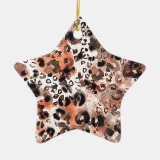 Falso Watercolour del leopardo Adorno Navideño De Cerámica En Forma De Estrella