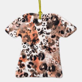 Falso Watercolour del leopardo Adorno Navideño De Cerámica En Forma De Playera