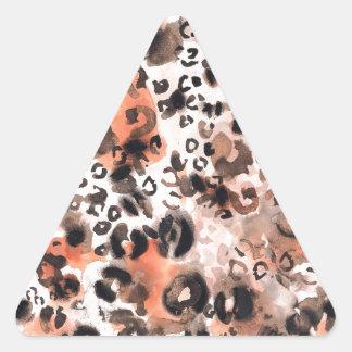Falso Watercolour del leopardo Pegatina Triangular