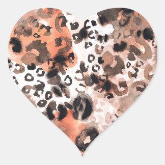 Falso Watercolour del leopardo Pegatina En Forma De Corazón