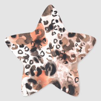 Falso Watercolour del leopardo Pegatina En Forma De Estrella