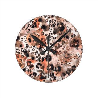 Falso Watercolour del leopardo Reloj Redondo Mediano