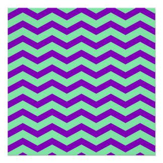 Falso zigzag púrpura de Chevron de la hoja de la Perfect Poster