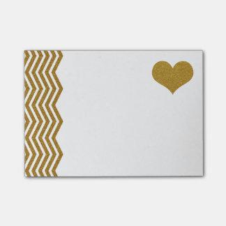 FALSO zigzag y corazón (plano impreso) del brillo Post-it® Notas
