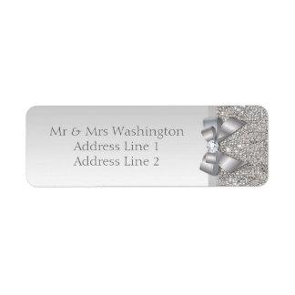 Falsos arco y diamante de plata elegantes de las etiqueta de remitente
