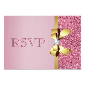 """Falsos arco y diamante rosados RSVP del oro de las Invitación 3.5"""" X 5"""""""