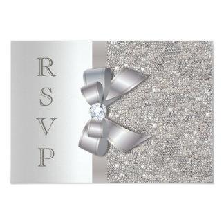 Falsos arco y diamantes de plata RSVP Invitación 8,9 X 12,7 Cm