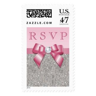 Falsos arco y diamantes rosados RSVP Sellos Postales