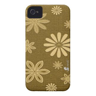 Falsos casos florales del iPhone 4/4S de la piel Funda Para iPhone 4