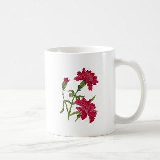 Falsos claveles rojos bordados taza
