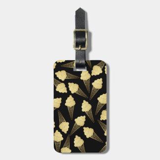 Falsos conos de helado de la hoja de oro en negro etiquetas de equipaje
