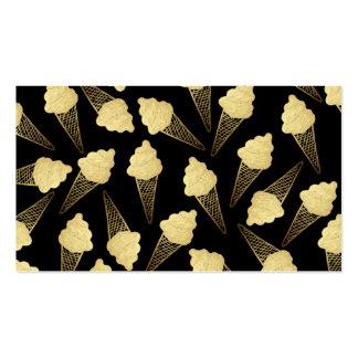 Falsos conos de helado de la hoja de oro en negro tarjetas de visita