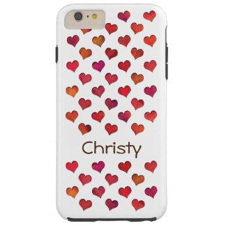 Falsos corazones cortados funda para iPhone 6 plus tough