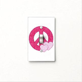 Falsos corazones rosados del signo de la paz del b placa para interruptor