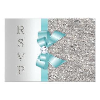 Falsos diamantes RSVP de la plata del arco del Invitación 8,9 X 12,7 Cm