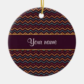Falsos galones personalizados del brillo en adorno navideño redondo de cerámica