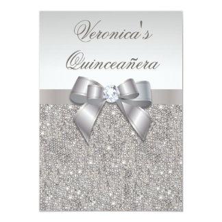 """Falsos lentejuelas y arco de plata atractivos de invitación 5"""" x 7"""""""