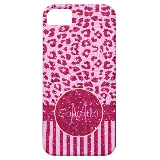 Falsos leopardo y rayas rosados de la impresión iPhone 5 carcasa