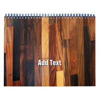 Falsos listones de madera del piso calendario de pared