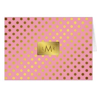 Falsos lunares rosados de la hoja de oro cones tarjeta pequeña