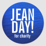 Falsos pegatinas azules del día de Jean de la Pegatina Redonda