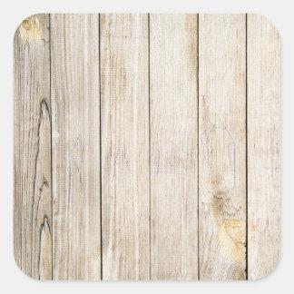 Falsos pegatinas de madera del grano calcomania cuadradas personalizada