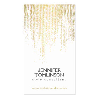 Falsos puntos elegantes del confeti del oro en tarjetas de visita