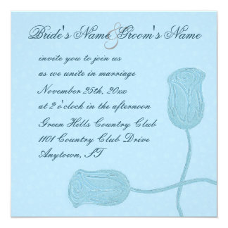 Falsos rosas grabados en relieve florales azules invitación 13,3 cm x 13,3cm