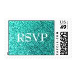 Falsos sellos de RSVP del brillo de la turquesa