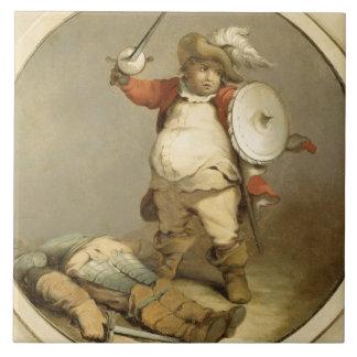 Falstaff con el cuerpo de Hotspur, c.1786 (aceite  Azulejo Cuadrado Grande