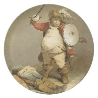 Falstaff con el cuerpo de Hotspur, c.1786 (aceite  Plato De Comida