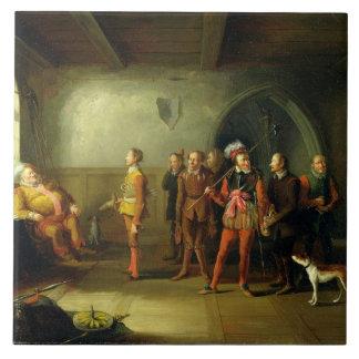 Falstaff y los reclutas, del 'Enrique IV, parte II Azulejo Cuadrado Grande