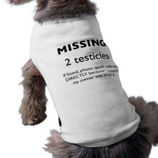 Falta: Camisa del perro de 2 testículos Playera Sin Mangas Para Perro