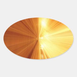 Falta de definición abstracta amarillo-naranja del pegatina ovaladas personalizadas