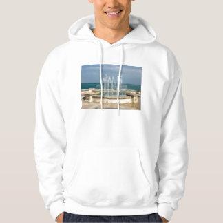 Falta de definición coralina del bosquejo del agua suéter con capucha