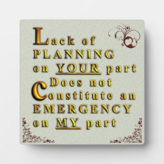 Falta de planeamiento placas